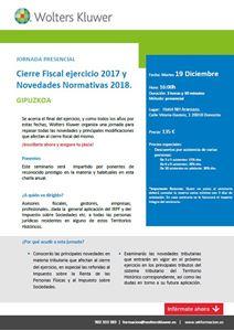 Imagen de JORNADA PRESENCIAL Cierre Fiscal 2017 y Novedades Normativas 2018. GIPUZKOA