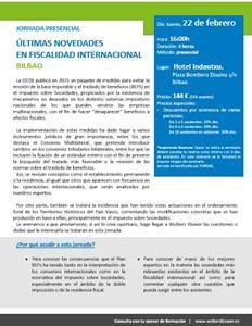 Imagen de JORNADA PRESENCIAL Últimas Novedades en Fiscalidad Internacional. BILBAO