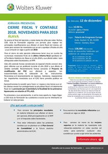 Imagen de JORNADA PRESENCIAL Cierre fiscal y contable 2018. Novedades para 2019. ÁLAVA