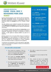 Imagen de JORNADA PRESENCIAL Cierre fiscal 2019 y novedades para 2020. BILBAO