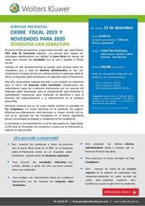 Imagen de JORNADA PRESENCIAL Cierre fiscal 2019 y novedades para 2020. DONOSTIA-SAN SEBASTIÁN