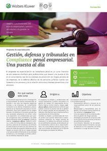 Imagen de Programa de especialización Gestión, defensa y tribunales en compliance penal empresarial. Una puesta al día