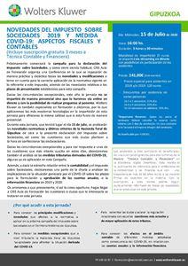 Imagen de Novedades del Impuesto sobre Sociedades 2019 y medidas COVID-19. Aspectos fiscales y contables - GIPUZKOA