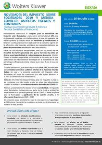 Imagen de Novedades del Impuesto sobre Sociedades 2019 y medidas COVID-19. Aspectos fiscales y contables - BIZKAIA