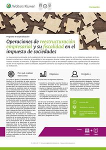 Imagen de Programa de especialización Operaciones de reestructuración empresarial y su fiscalidad en el impuesto de sociedades