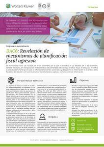 Imagen de Programa de especialización DAC6: Revelación de mecanismos de planificación fiscal agresiva