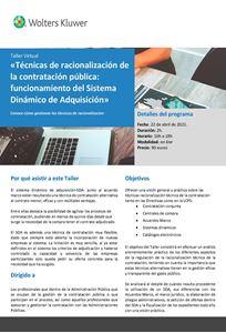 Imagen de Taller virtual «Técnicas de racionalización de la contratación pública: funcionamiento del Sistema Dinámico de Adquisición»